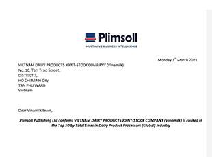 """""""TOP 50 CÔNG TY SỮA LỚN NHẤT THẾ GIỚI"""" <br> Thống kê của Plimsoll năm 2021 về doanh thu ngành Sữa."""
